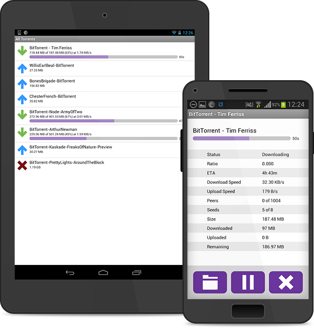 BitTorrent Remote running on Android tablets and smartphones